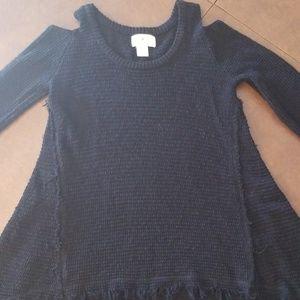 Ruby Moon M Black Tatter Cold Shoulder Sweater